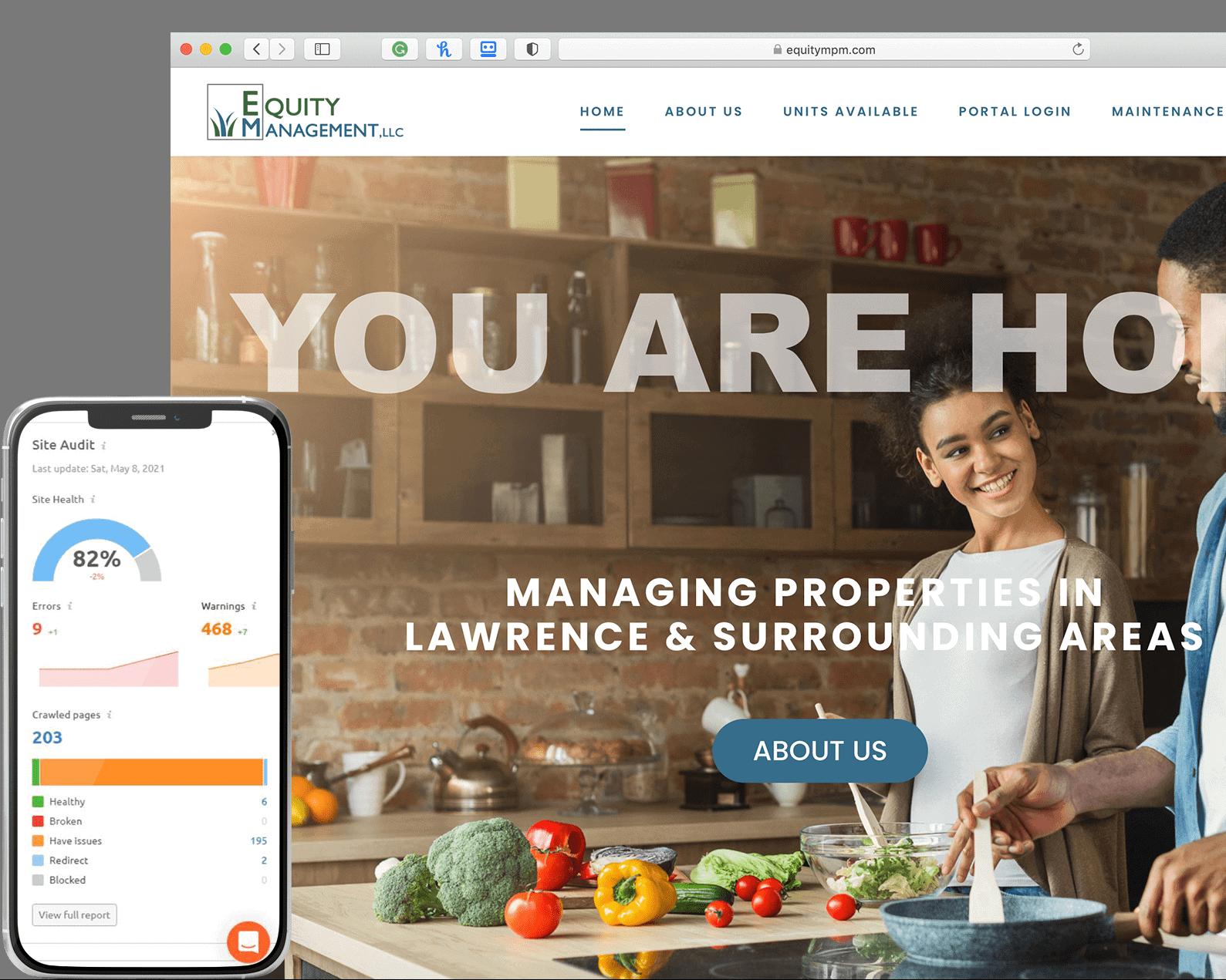 website services - Equity management screen shot