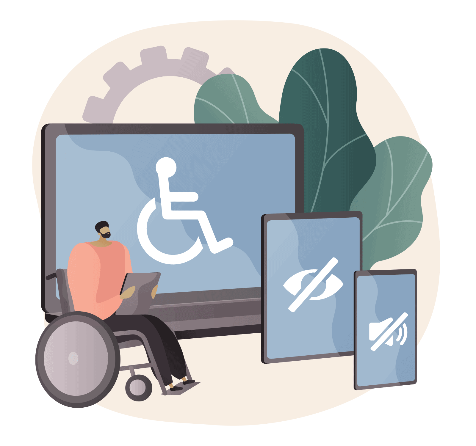website accessability - guy in wheelchair with screen reader
