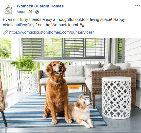 Facebook example - National Dog Day