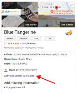 BlueTangerine_KP_editbusinessinformaiton_result_FL_Melbourne_2020_West_Eau_Gallie_Boulevard_Ste_105